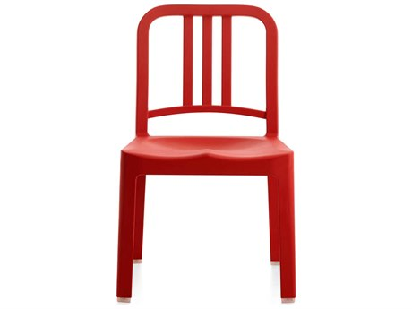Emeco Outdoor Navy Recycled Plastic Red Mini Dining Side Chair
