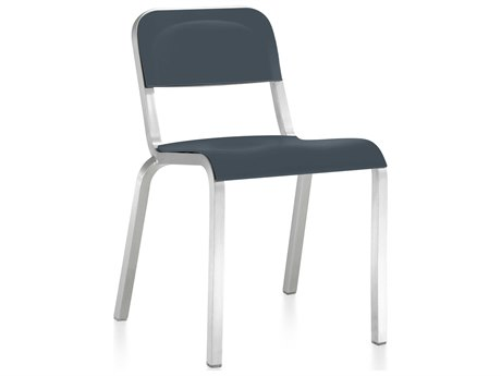 Emeco Outdoor 1951 By Bmw Aluminum Stackable Dining Side Chair with Atlantic Dark Blue Seat and Back PatioLiving