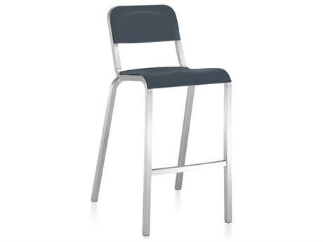 Emeco Outdoor 1951 By Bmw Aluminum Bar Stool with Atlantic Dark Blue Seat and Back PatioLiving