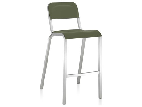 Emeco Outdoor 1951 By Bmw Aluminum Bar Stool with Cypress Green Seat and Back PatioLiving