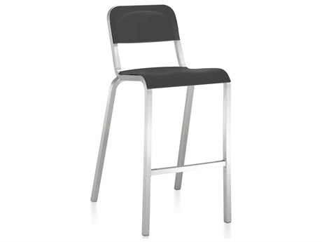 Emeco Outdoor 1951 By Bmw Aluminum Bar Stool with Lava Black Seat and Back PatioLiving