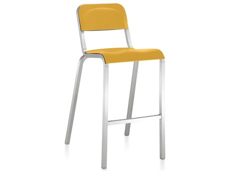 Emeco Outdoor 1951 By Bmw Aluminum Bar Stool with Mustard Yellow Seat and Back PatioLiving