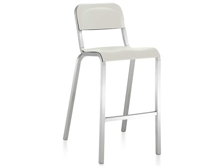 Emeco Outdoor 1951 By Bmw Aluminum Bar Stool with Stockhlom White Seat and Back PatioLiving