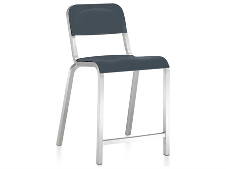 Emeco Outdoor 1951 By Bmw Aluminum Counter Stool with Atlantic Dark Blue Seat and Back PatioLiving