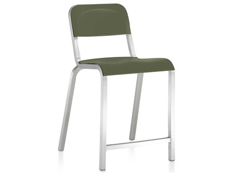 Emeco Outdoor 1951 By Bmw Aluminum Counter Stool with Cypress Green Seat and Back PatioLiving