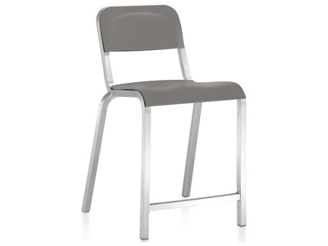 Emeco Outdoor 1951 By Bmw Aluminum Counter Stool with Flint Gray Seat and Back PatioLiving