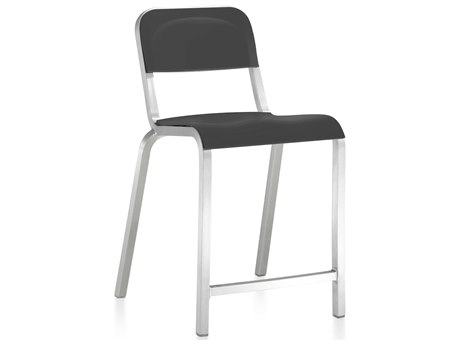 Emeco Outdoor 1951 By Bmw Aluminum Counter Stool with Lava Black Seat and Back PatioLiving