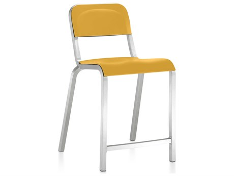 Emeco Outdoor 1951 By Bmw Aluminum Counter Stool with Mustard Yellow Seat and Back PatioLiving
