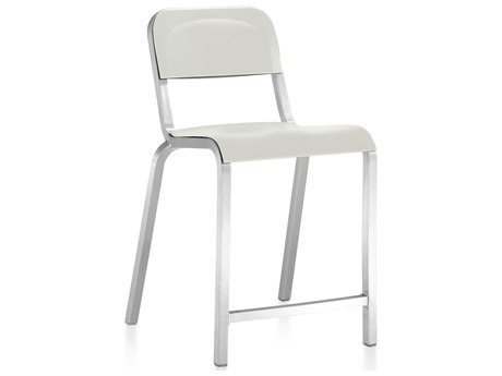 Emeco Outdoor 1951 By Bmw Aluminum Counter Stool with Stockhlom White Seat and Back PatioLiving