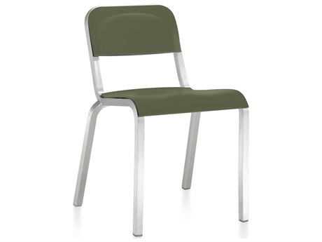 Emeco Outdoor 1951 By Bmw Aluminum Stackable Dining Side Chair with Cypress Green Seat and Back PatioLiving