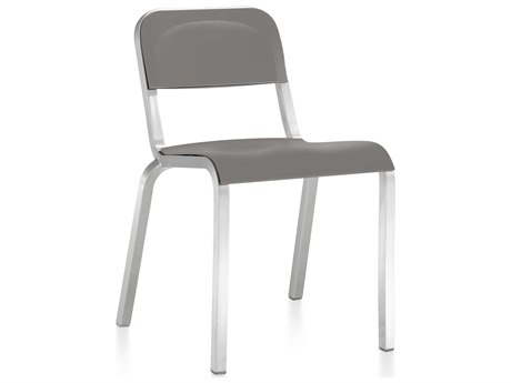 Emeco Outdoor 1951 By Bmw Aluminum Stackable Dining Side Chair in Flint Gray Seat and Back PatioLiving