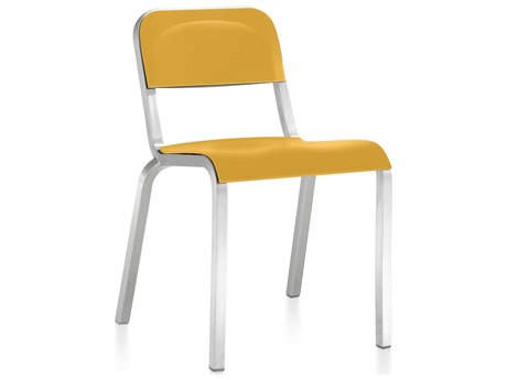 Emeco Outdoor 1951 By Bmw Aluminum Stackable Dining Side Chair with Mustard Yellow Seat and Back PatioLiving