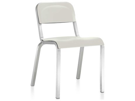 Emeco Outdoor 1951 By Bmw Aluminum Stackable Dining Side Chair with Stockhlom White Seat and Back PatioLiving