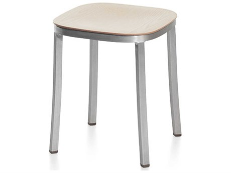 Emeco Outdoor 1 Inch By Jasper Morrison Aluminum 18'' High Small Stool with Ash Wood Seat PatioLiving