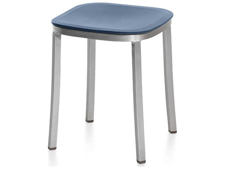 Emeco Outdoor 1 Inch By Jasper Morrison Aluminum 18'' High Small Stool with Blue Seat PatioLiving