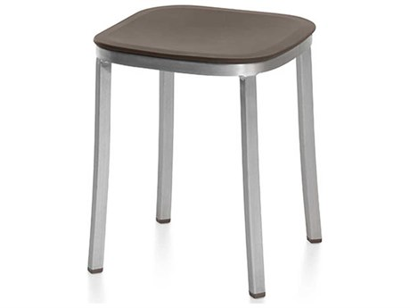 Emeco Outdoor 1 Inch By Jasper Morrison Aluminum 18'' High Small Stool with Brown Seat PatioLiving