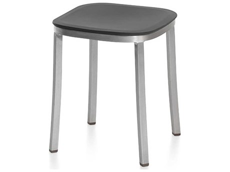Emeco Outdoor 1 Inch By Jasper Morrison Aluminum Dark 18'' High Small Stool with Dark Grey Seat PatioLiving