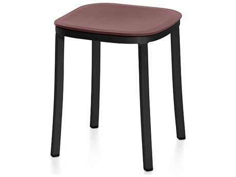 Emeco Outdoor 1 Inch By Jasper Morrison Aluminum Dark 18'' High Small Stool with Bordeaux Seat PatioLiving