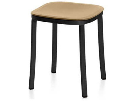 Emeco Outdoor 1 Inch By Jasper Morrison Aluminum Dark 18'' High Small Stool with Sand Seat PatioLiving