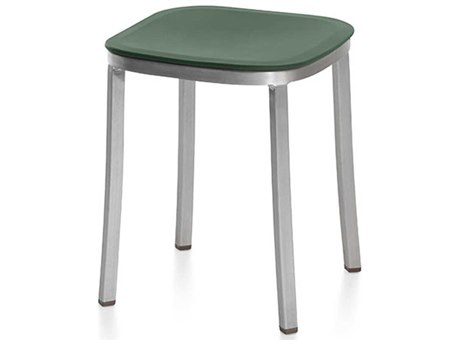 Emeco Outdoor 1 Inch By Jasper Morrison Aluminum 18'' High Small Stool with Green Seat PatioLiving