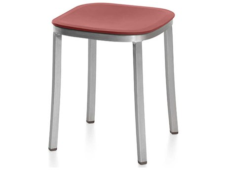 Emeco Outdoor 1 Inch By Jasper Morrison Aluminum 18'' High Small Stool with Orange Seat PatioLiving
