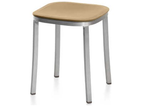 Emeco Outdoor 1 Inch By Jasper Morrison Aluminum 18'' High Small Stool with Sand Seat PatioLiving