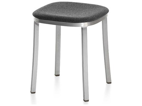Emeco Outdoor 1 Inch By Jasper Morrison Aluminum 18'' High Small Stool with Upholstered Seat