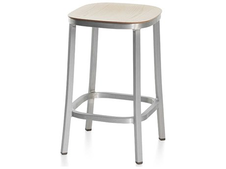 Emeco Outdoor 1 Inch By Jasper Morrison Aluminum 24'' High Counter Stool with Ash Wood Seat PatioLiving
