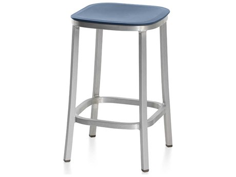 Emeco Outdoor 1 Inch By Jasper Morrison Aluminum 24'' High Counter Stool with Blue Seat PatioLiving