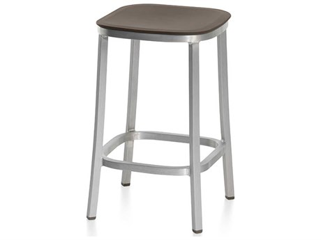 Emeco Outdoor 1 Inch By Jasper Morrison Aluminum 24'' High Counter Stool with Brown Seat PatioLiving