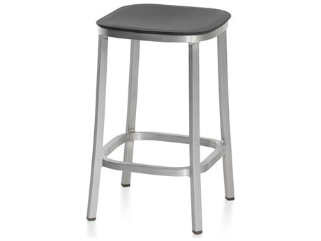 Emeco Outdoor 1 Inch By Jasper Morrison Aluminum 24'' High Counter Stool with Dark Grey Seat PatioLiving