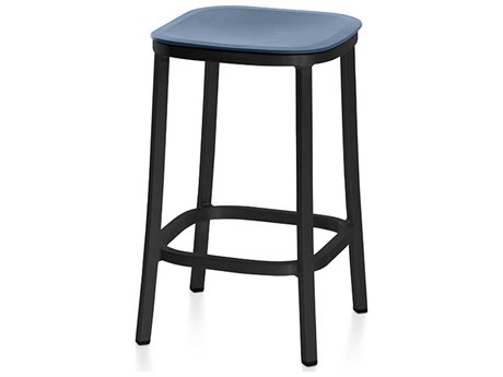 Emeco Outdoor 1 Inch By Jasper Morrison Aluminum Dark 24'' High Counter Stool with Blue Seat PatioLiving