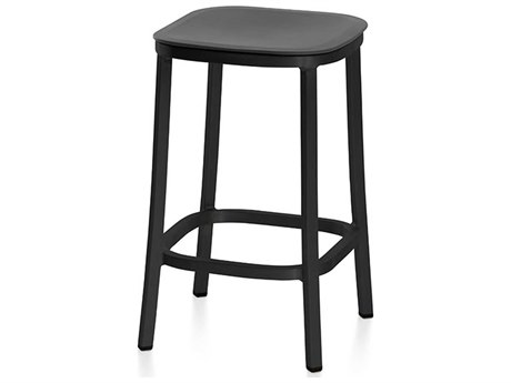 Emeco Outdoor 1 Inch By Jasper Morrison Aluminum Dark 24'' High Counter Stool with Dark Grey Seat PatioLiving