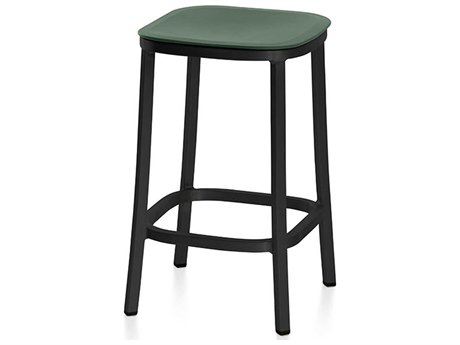 Emeco Outdoor 1 Inch By Jasper Morrison Aluminum Dark 24'' High Counter Stool with Green Seat PatioLiving