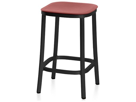 Emeco Outdoor 1 Inch By Jasper Morrison Aluminum Dark 24'' High Counter Stool with Orange Seat PatioLiving