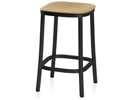 Emeco Outdoor 1 Inch By Jasper Morrison Aluminum Dark 24'' High Counter Stool with Sand Seat PatioLiving