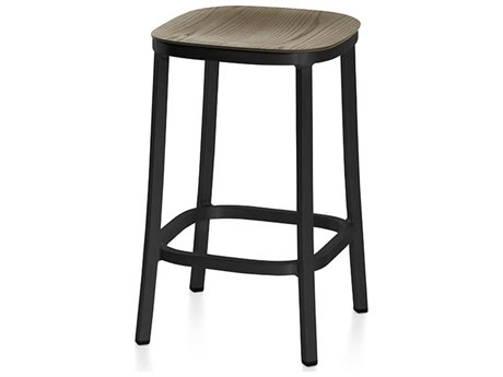 Emeco Outdoor 1 Inch By Jasper Morrison Aluminum Dark 24'' High Counter Stool with Walnut Wood Seat PatioLiving