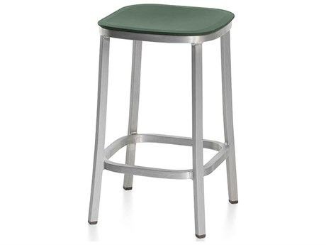 Emeco Outdoor 1 Inch By Jasper Morrison Aluminum 24'' High Counter Stool with Green Seat PatioLiving