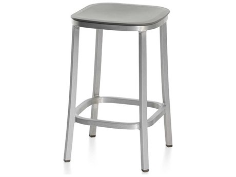 Emeco Outdoor 1 Inch By Jasper Morrison Aluminum Dark 24'' High Counter Stool with Light Grey Seat PatioLiving