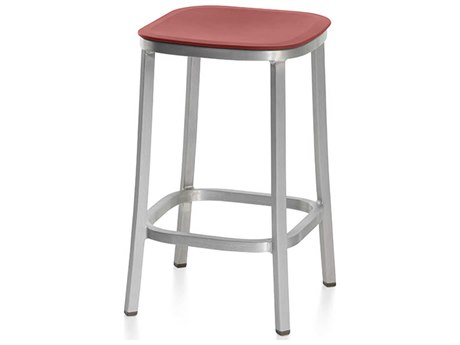 Emeco Outdoor 1 Inch By Jasper Morrison Aluminum 24'' High Counter Stool with Orange Seat PatioLiving