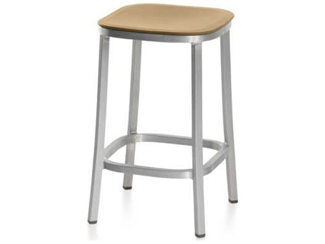 Emeco Outdoor 1 Inch By Jasper Morrison Aluminum 24'' High Counter Stool with Sand Seat PatioLiving