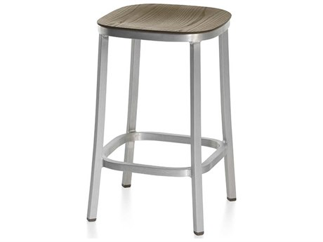 Emeco Outdoor 1 Inch By Jasper Morrison Aluminum 24'' High Counter Stool with Walnut Wood Seat PatioLiving