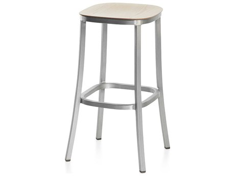 Emeco Outdoor 1 Inch By Jasper Morrison Aluminum 30'' High Barstool with Ash Wood Seat PatioLiving