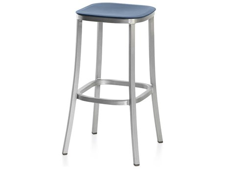 Emeco Outdoor 1 Inch By Jasper Morrison Aluminum 30'' High Barstool with Blue Seat PatioLiving