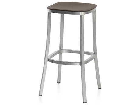 Emeco Outdoor 1 Inch By Jasper Morrison Aluminum ''30 Bar stool with Brown Seat PatioLiving