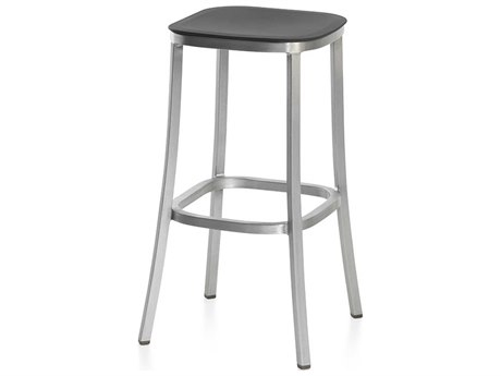 Emeco Outdoor 1 Inch By Jasper Morrison Aluminum 30'' High Barstool with Dark Grey Seat PatioLiving