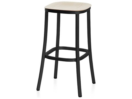 Emeco Outdoor 1 Inch By Jasper Morrison Aluminum Dark 30'' High Barstool with Ash Wood Seat PatioLiving