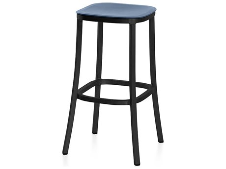 Emeco Outdoor 1 Inch By Jasper Morrison Aluminum Dark 30'' High Barstool with Blue Seat PatioLiving