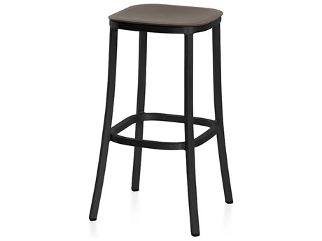 Emeco Outdoor 1 Inch By Jasper Morrison Aluminum Dark 30'' High Barstool with Brown Seat PatioLiving