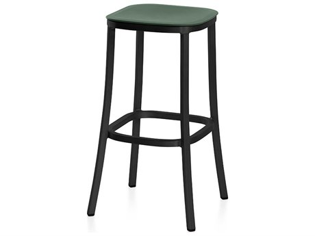 Emeco Outdoor 1 Inch By Jasper Morrison Aluminum Dark 30'' High Barstool with Green Seat PatioLiving